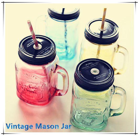 2015 моя личность градиент цвета мейсон Jar бутылки для мороженое фрукты установлен холодный напиток настой цветное стекло бутылки с водой купить на AliExpress