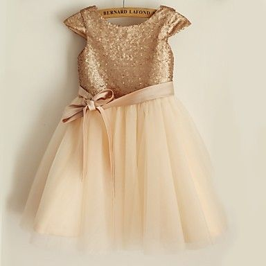 Princess Knee-length Flower Girl Dress - Satin / Tulle / Sequined Short Sleeve Scoop with – USD $ 43.99