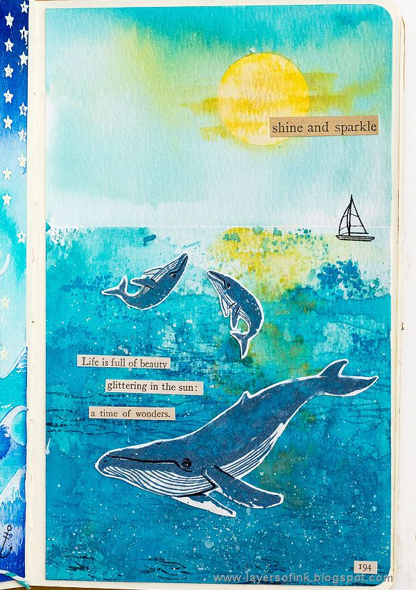 Layers of ink - Distress Oxide Layers Tutorial by Anna-Karin. Made with Blue Whale stamps by Hero Arts, and Distress Oxide Ink by Ranger and Tim Holtz.