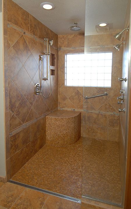 Roll in shower with no curb for wheelchair access home Wheelchair accessible housing
