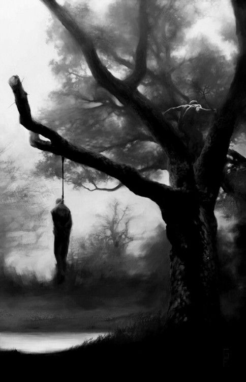 art tree Black and White suicide dark nature morbid rope Macabre ...