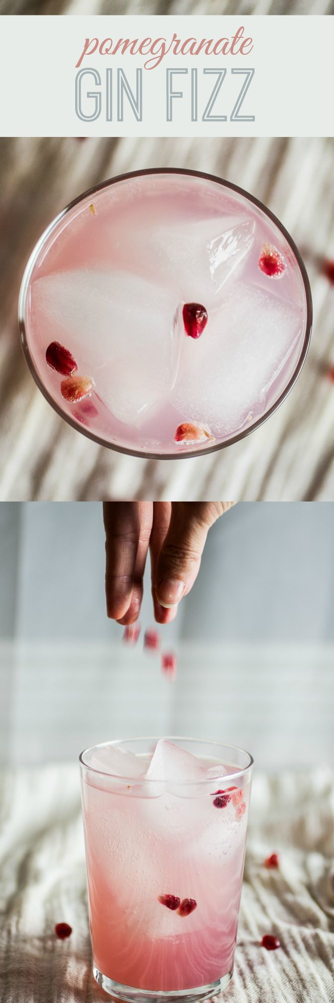 Pomegranate Gin Fizz by produceonparade: Blended with fresh pomegranate seeds and a floral gin made from grapes. Topped with fuzzy water, this is the perfect lightly scented adult beverage to sip on. If you're not a big hard alcohol fan, this is probably right up your alley. #Cocktails #Gin_Fizz #Pomegranate