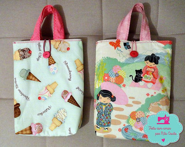 book bags . Bolsinhas para livros by Feito com Amor por Rita Couto, via Flickr