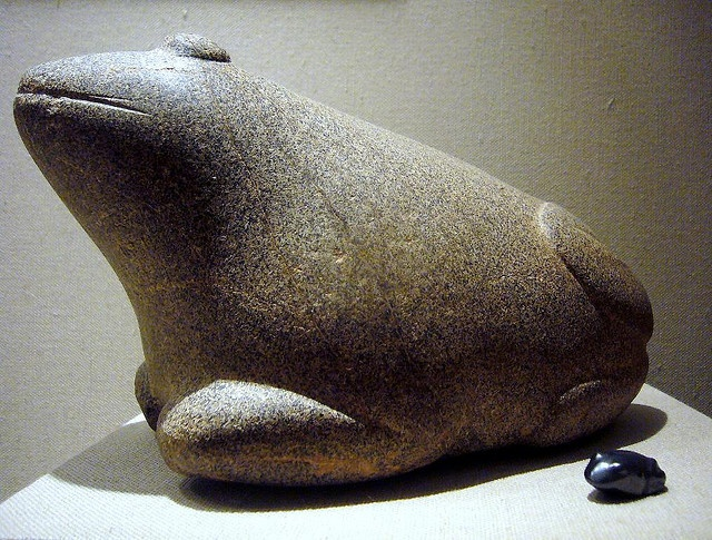 2,000-1,600 BCE.  Akkadian stone frogs were used as units of weight. The large one is 4,700 grams or 10 minas. Mesopotamia.