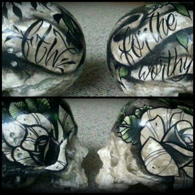 My handmade n hand painted skulls. Check out facebook.com/fortheworthyftw for order info