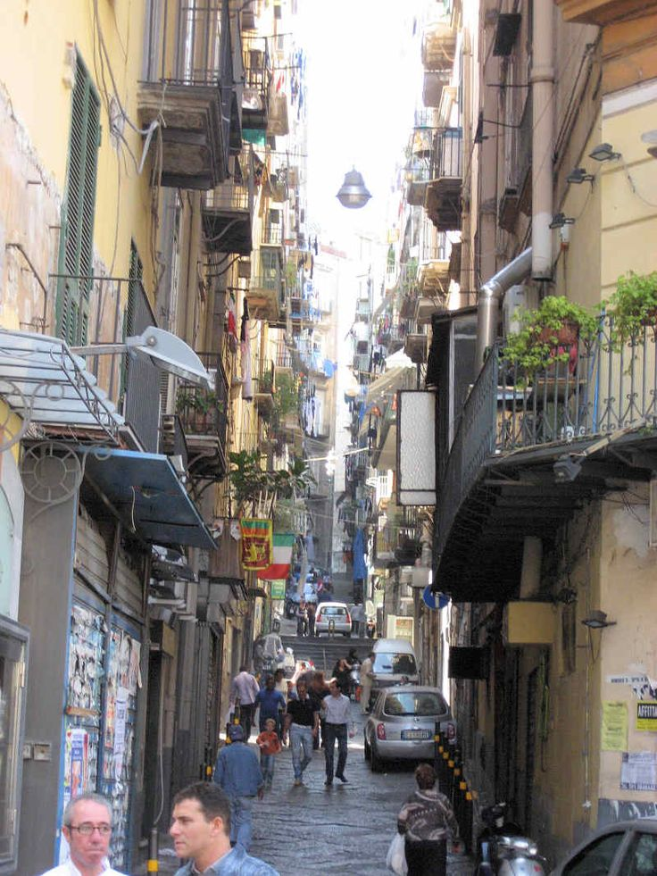 Historical road of Naples, Italy.