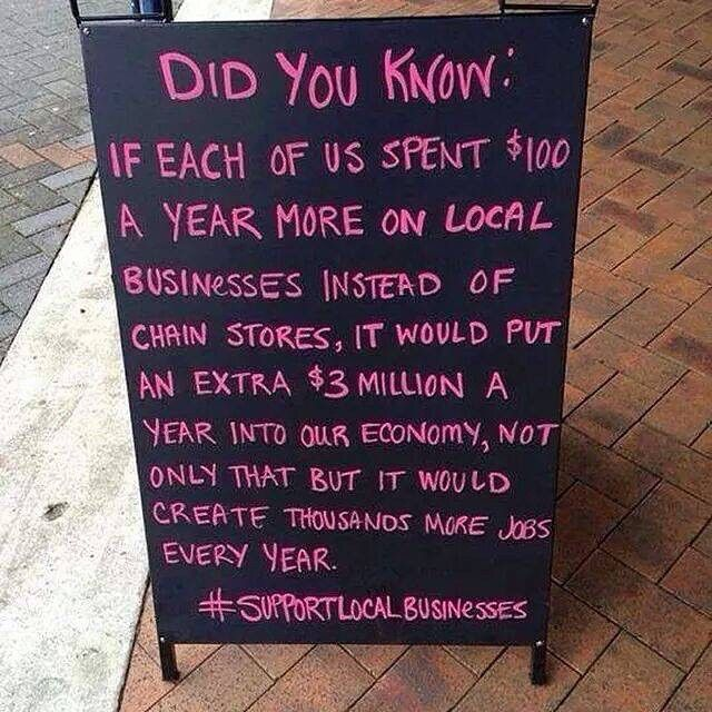 Makes ya think doesn't it? Tag someone who'd agree #local #supportlocalbusiness #bdnmb
