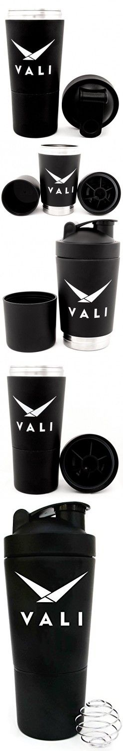 VALI Stainless Steel Shaker with Built-In Mixing Lid & Mixer Ball. Premium Large Capacity 700ml (24 oz) Black Workout Shaker Bottle with Twist Storage Compartment Cup