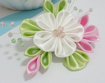 Plantilla de Flor Kanzashi pelo Clip o broche por IwoRossa en Etsy