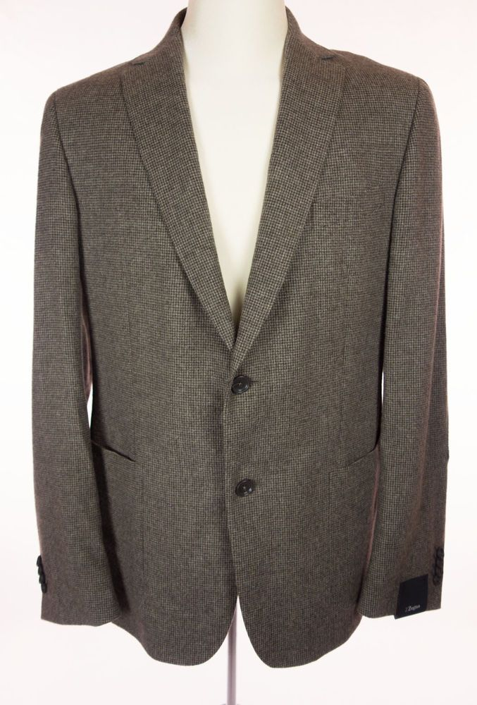 Z ZEGNA New Mens Sport Jacket Size 52L 42 L Long Wool Angora Silk Blazer $995 #ZZegna #TwoButton