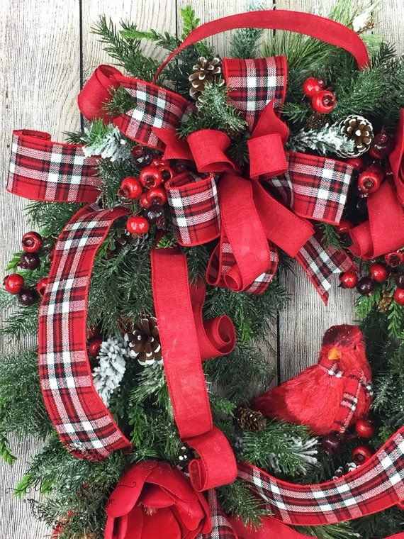 Christmas Wreaths For Front Door Cardinal Wreath Winter Etsy Christmas Wreaths Christmas Wreaths For Front Door