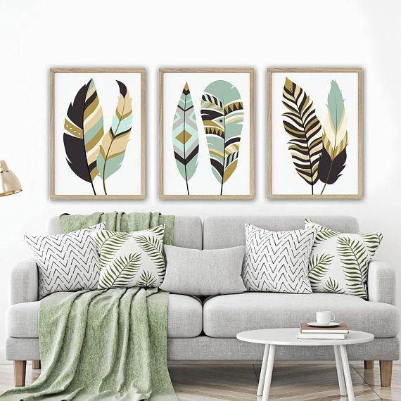 Feather Wall Art Tribal Feather Art Boho Feather Home Decor Feather Living Room Artwork Set Of 3 C Living Room Art Gallery Wall Living Room Room Wall Decor