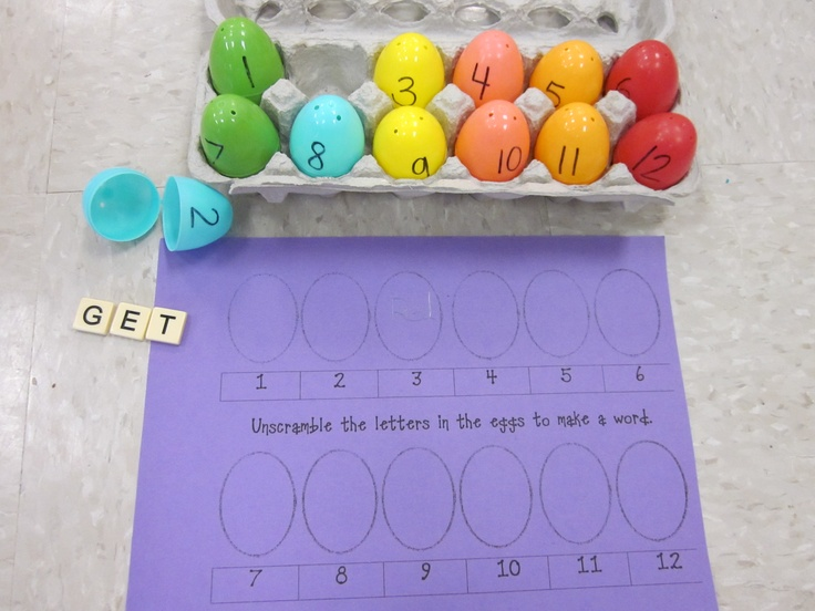 Easter egg game literacy station...use Bananagram pieces to create words in each egg.  Students have to unscramble the letters to create a sight word.