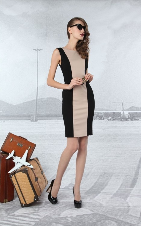 Alice + Olivia. Great sheath dress. Grab a cashmere sweater of cropped jacket for the cold board room