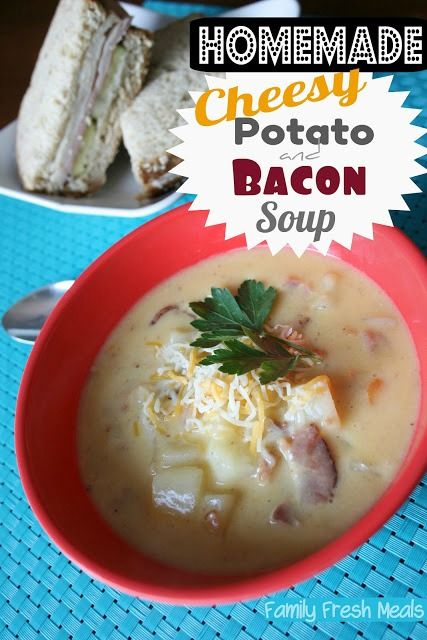 This perfect HOMEMADE soup is just minutes away! Cheesy Potato and Bacon Soup