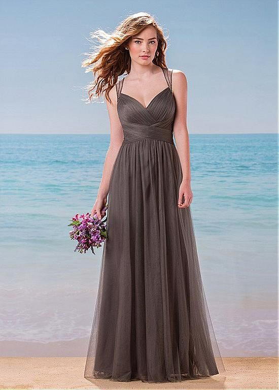 Buy discount Fabulous Tulle Queen Anne Neckline A-Line Bridesmaid Dresses With Beads at Dressilyme.com