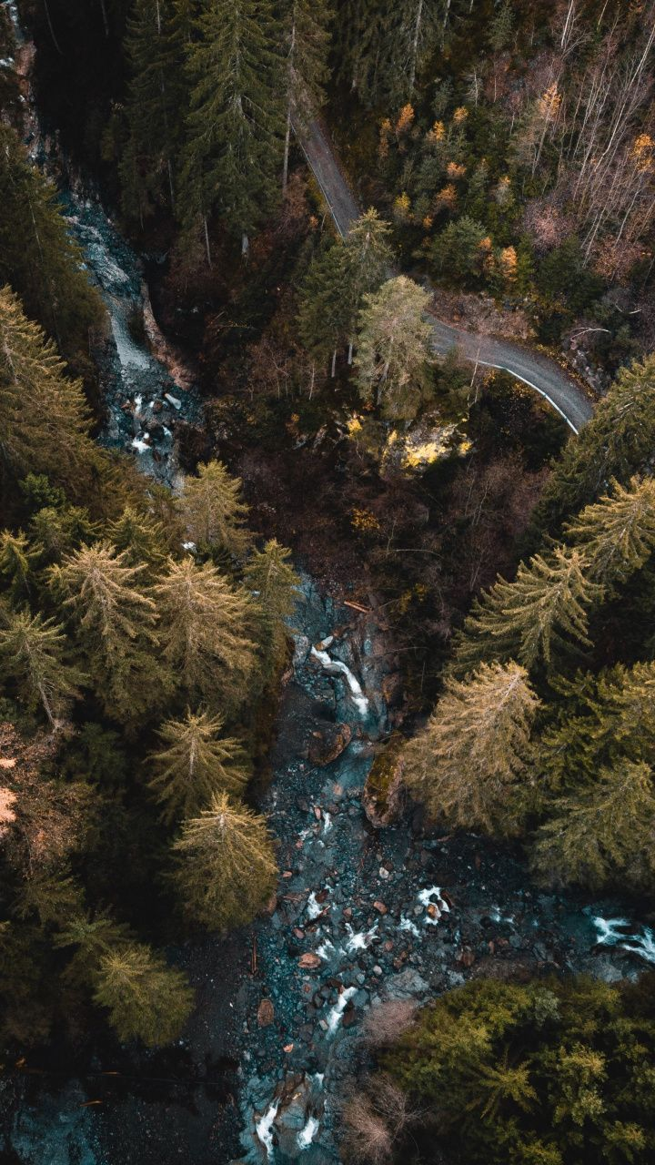 Aerial View Forest Water Stream River 720x1280 Wallpaper Aerial View Aerial Photography Landscape Photography