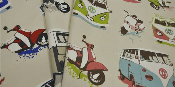 Around the World collection by Charles Parsons Interiors #charlesparsonsinteriors #fabric #material #curtains #drapery #cushions #travel #print #combi #scooter #ashleywilde