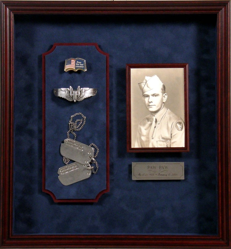 """Creating a great display for your military memorabilia is all about the details. We can help you get those medals and photos out of the boxes and drawers and onto the wall to display proudly. """"Like"""" Bradley's on Facebook! https://www.facebook.com/bradleysartandframe?ref=hl"""