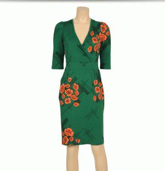 King Louie Tulip cross dress 3/4 sl Quincy Meadow Green