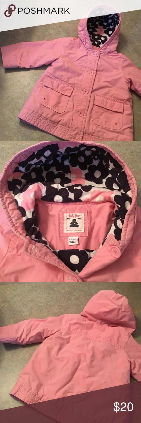 Baby GAP coat 18/24 mths Great used condition! No stains/ holes.. general wear shown on cuffs in pics which is hardly noticed in person! Great little coat for the winter 💟 flower detail in the hood is white pink and navy blue. Gap Jackets & Coats