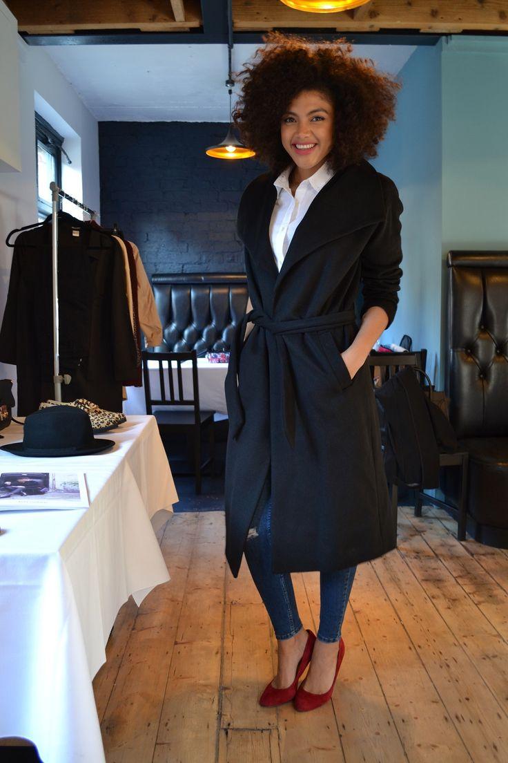 Balsamik stylish wrap house coat black.