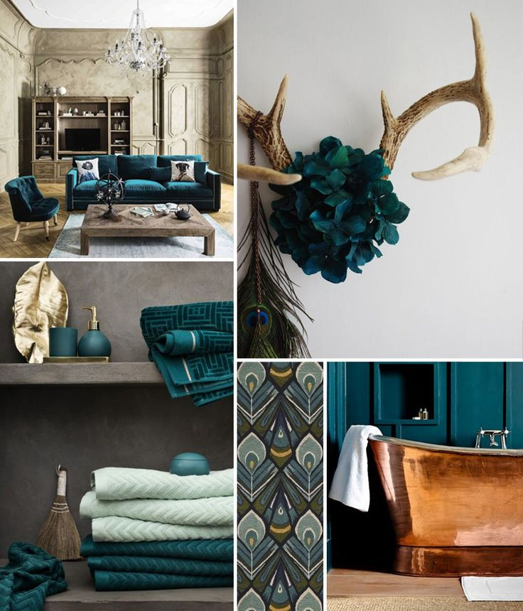 inspiration d co autour de la couleur bleu paon inspiration peacock blue pinterest la. Black Bedroom Furniture Sets. Home Design Ideas