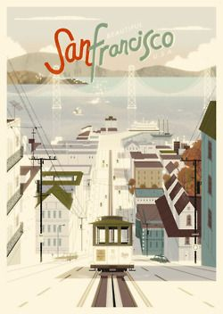 need to get back to the City!: Favorite Places, Vintage Poster, Sanfrancisco, Illustration, Vintage Travel, Travel Posters, San Francisco, Design