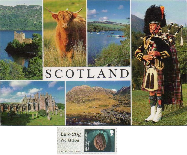 Swap - Arrived: 2017.04.27   ----   On the card: Top row: Urquhart Castle, Loch Ness - Hughland Cow - Loch Tay, Perthshire; Borrom row: Melrose Abbey, Borders, Glen Coe; Right side: Piper