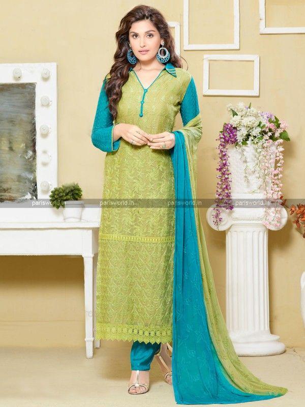 Green Chiffon Stunning Long Salwar Kameez