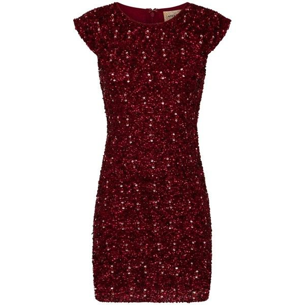 LACE&BEADS SPICA BURGUNDY SEQUIN DRESS | LACE&BEADS PARTY DRESS ($120) ❤ liked on Polyvore featuring dresses, sequin lace dress, red cocktail dress, sequin dress, burgundy lace dress and red sequin cocktail dress