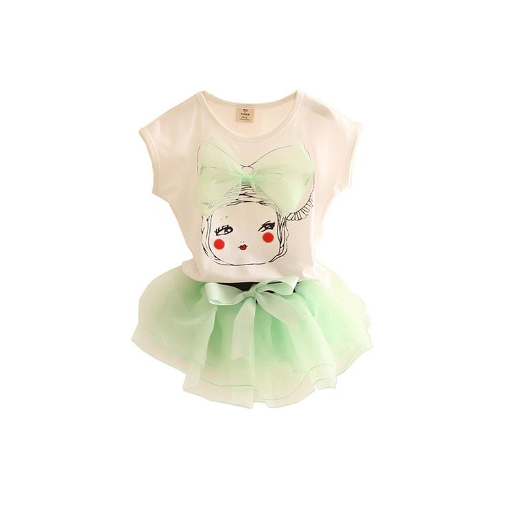 """Mud Kingdom Girls' 3D Bowknot Little Girl T-shirt and Tulle Dress Outfit Green 5T. Featured Big Bowknot. Adorable. For Summer. Please Read """"Size Specification"""" In """"Product Description"""" To Make Sure This Fits As Expected When Choose Size. Mud Kingdom, A Reliable & Professional Manufacturer of Children's Clothing, Founded by Several Young People in 2012!."""