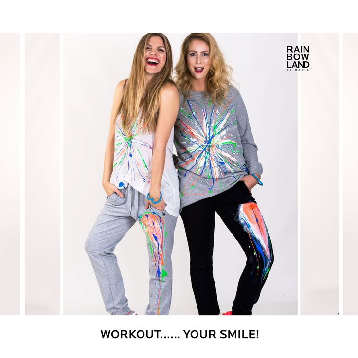 WORK OUT-TIME, WORK OUT YOUR #SMILE...colorful days, brighten up your life with  smiles,… and colorexplotion BUY THE CLOTHES HERE/KØB TØJET HER: http://www.rainbowland.dk/shop/sweatpants-unika FOLLOW YOUR #HEART #COMPASSION IS ALWAYS #IN #FASHION #sweatshirt #workoutsession #love #fun #colorexplotion #træningbukser #tanktop #twins #sweatpants #budda #hathayoga #yoga #meditation #biodynamic #fashionfreak #fashionlover #fashionblogger #club #fitness #workoutsession #fit #training #organic…