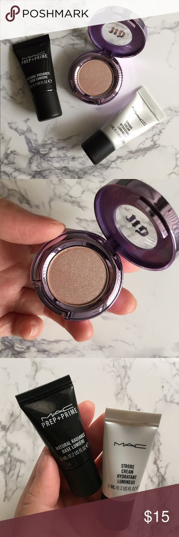 Urban Decay Midnight Cowboy w/ 2 MAC samples Practically new UD Midnight Cowboy eyeshadow (only swatched once). This shadow is described as a pink champagne shimmer with silver glitter. I'm including two MAC samples: natural radiance base and their infamous strobe cream! Urban Decay Makeup Eyeshadow