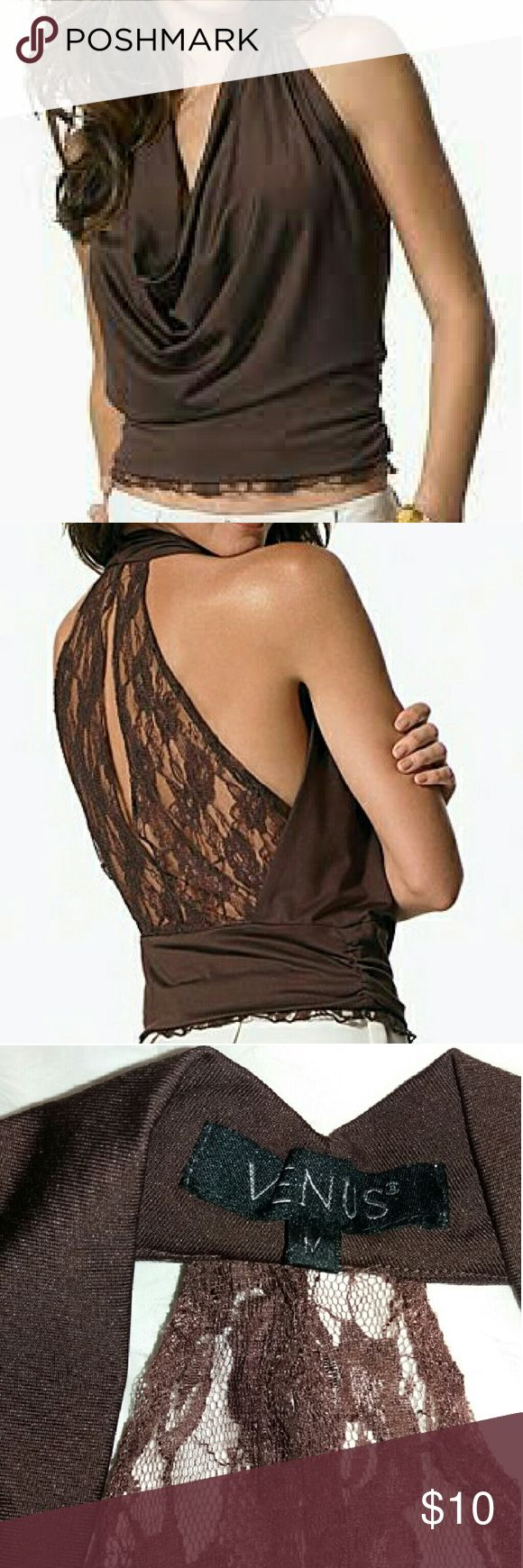 Venus Halter Lace Top - Sexy! Brown, fitted halter with cowl-neck and lace-design on the back. Bottom is trimmed with lace all around. Bought from the Venus clothing website. Wore only once... clean & in excellent condition! Size M. Fabric is 95% Poly, 5% spandex. Venus Tops Blouses