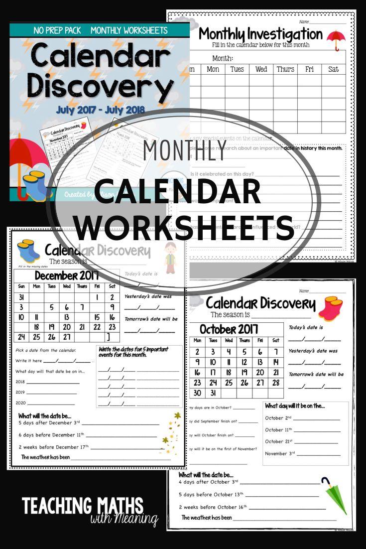 Calendar Ideas For Teachers : Best ideas about calendar worksheets on pinterest