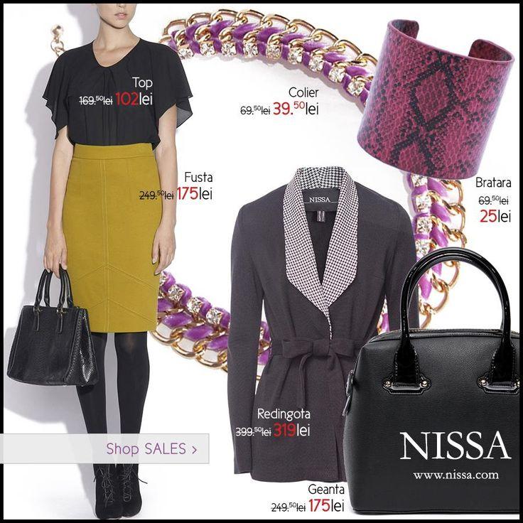 www.nissa.com  #nissa #reduceri #oferta #offer #outfit #look #style #stylish #fashion #fashionista #fusta #bluza #colier #geanta #redingota #bratara #bracelet #necklace #skirt #top #bag #handbag #accessories #accesorii #sale #sales