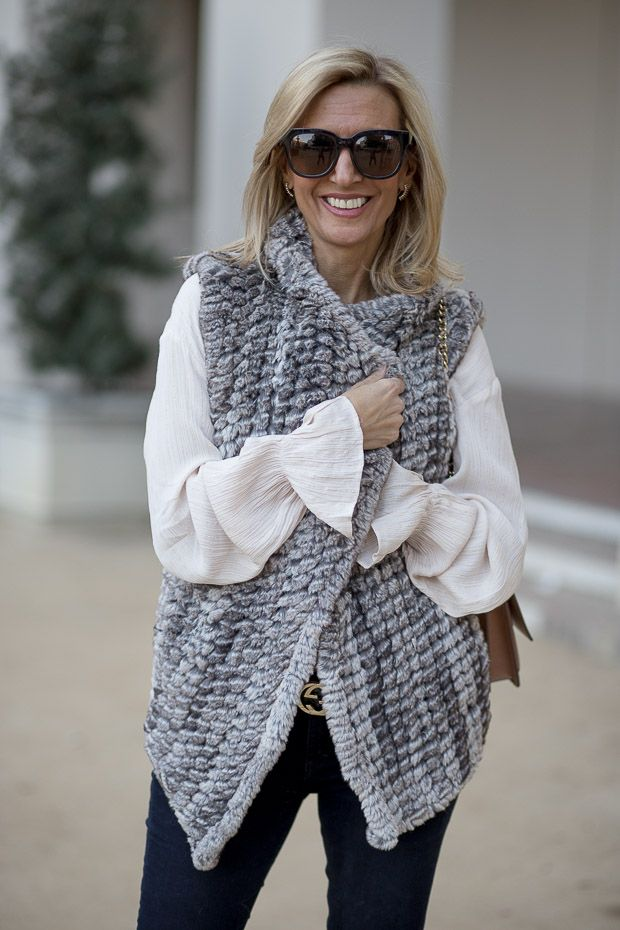 This week on my blog our Taupe Faux Fur Vest styled with our Metallic Gold Stripe Nude Blouse both part of our END OF THE YEAR SALE! . Get 25% off your order when you spend over $200 Get 20% off your order when you spend between $100-$200 Get 15% off your order when you spend up to $100 . No Code necessary. Free US Shipping www.jacketsociety.com
