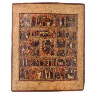 Icona russa antica 16 feste e ciclo della passione XVIII sec. | vendita online su HOLYART