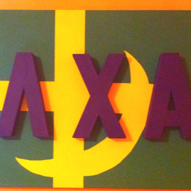 Lambda Chi Alpha letters, cross and crescent painted canvas
