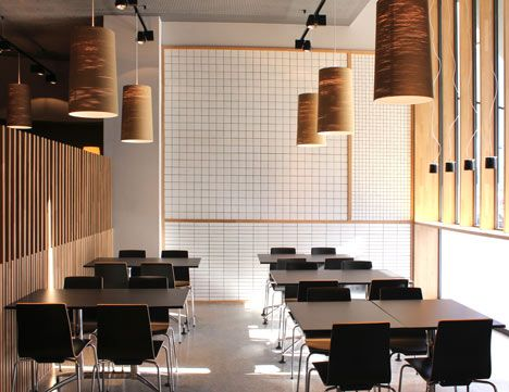 restaurant in bilbao pauzarq multi sized tiled wall contrasted with upright timber - Multi Restaurant Design