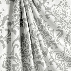 Lovely One Pair Of White And Gray Damask Curtains By EllaBellaFabric On Etsy