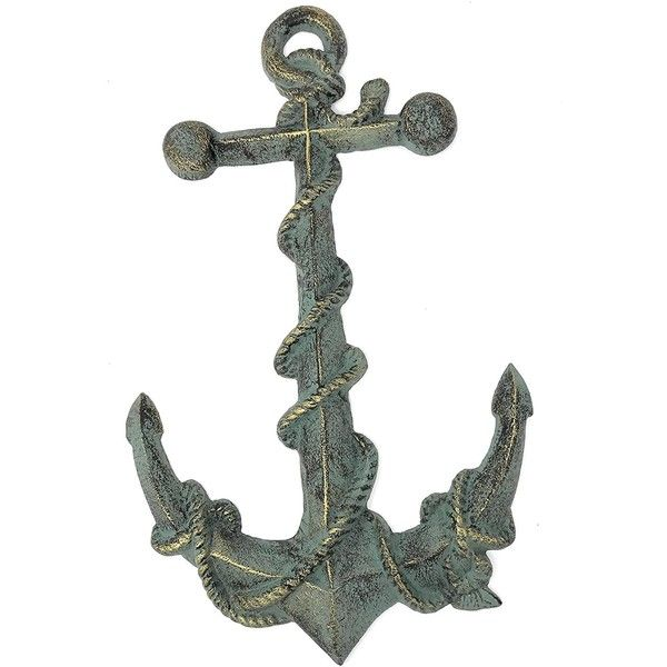 Ships Anchor Cast Iron Wall Decor Verdigris Finish 16.25T ($35) ❤ liked on Polyvore featuring home, home decor, wall art, cast iron wall art, anchor home decor, cast iron sign, anchor wall art and cast iron home decor