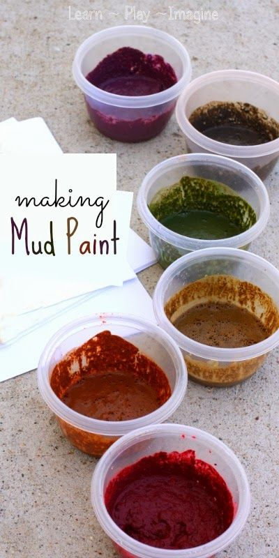 Painting with real mud. How to make mud paint in bold colors, such a cool sensory art project for spring!
