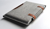 Byrd and Belle Handmade modern. Macbook Pro Sleeve in grey wool felt and brown leather