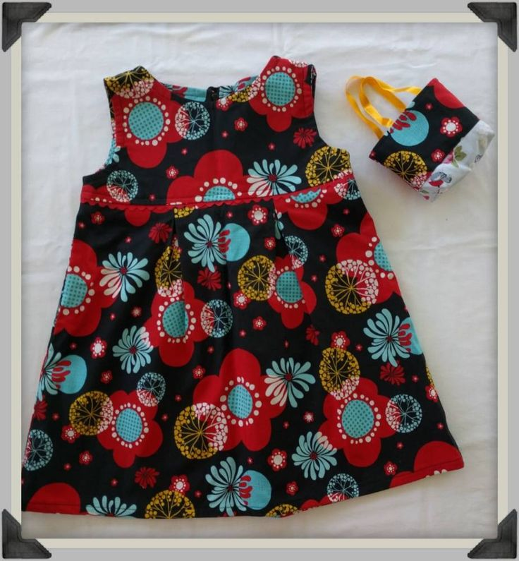 Girls A line Dress, Box Pleated Skirt, Red and Blue Flowers, Red Ric Rac Trim and Matching Tiny Tote, Dress with Bag by ByCatDesign on Etsy
