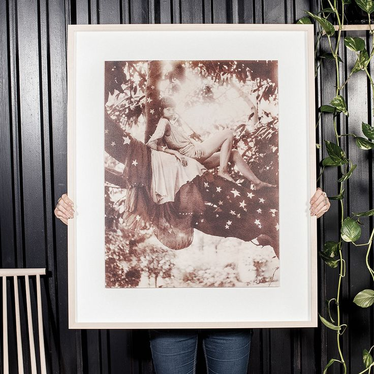 ZOE AND MORGAN, ADVENTURE FRAMED PRINT  'Blessed are the curious for they shall have adventures'  595mm x 767mm image cropped to print line, floating with 10cm around each side.  White box frame 4.5cm deep by 2cm wide. Photographer: Bayly and Moore