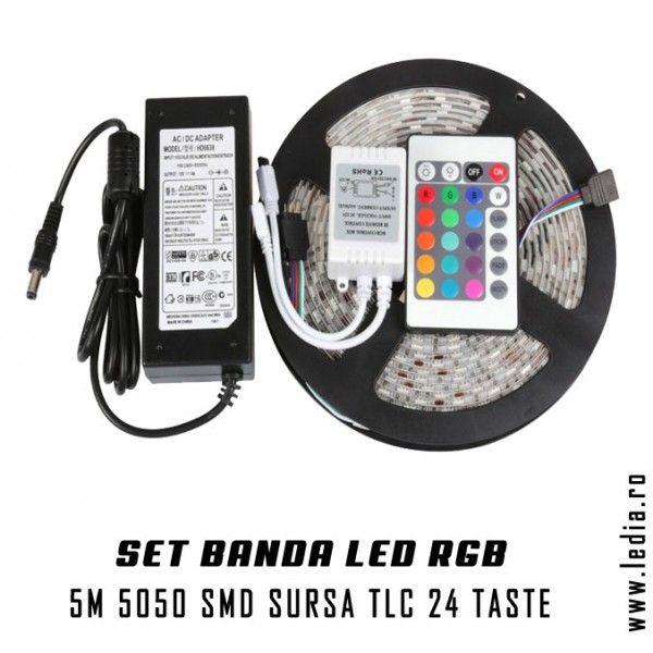 Set complet banda led smd 5050 rgb ip65 controller , telecomanda 24 taste si sursa de 5A inlcluse in pret , vezi mai multe detalii pe http://ledia.ro