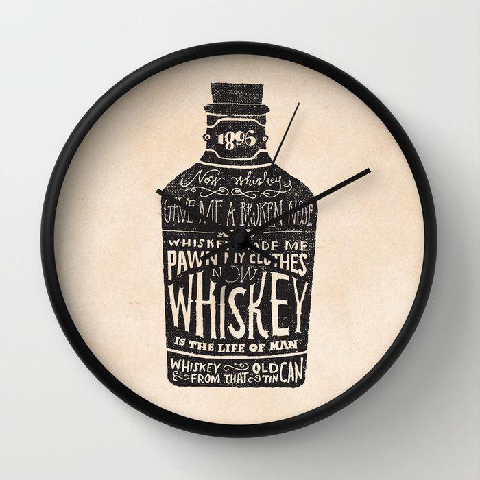 """""""Whiskey"""" Wall Clock by Jon Contino on Society6."""