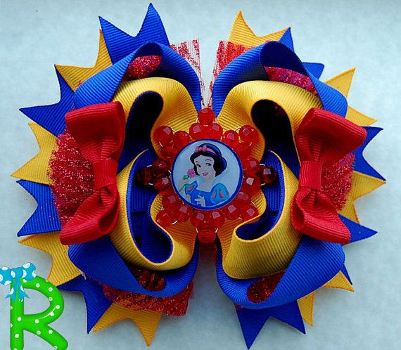 Snow White Hair Bow  Boutique layered bow  by RoshelysBowtique